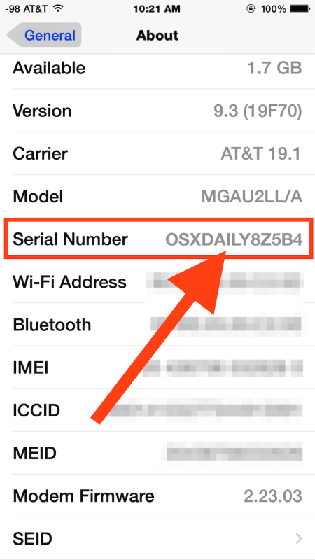 iphone serial number