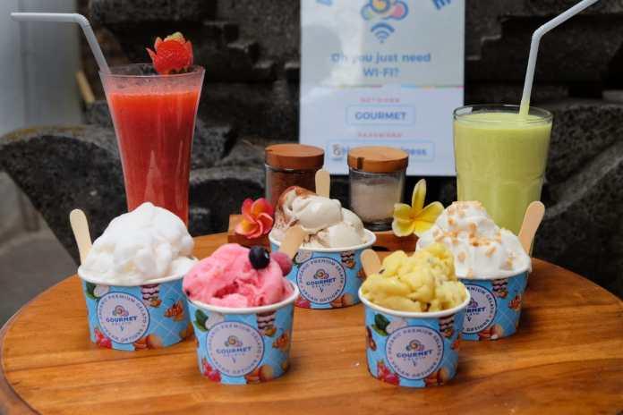 Various types of Ice Cream at Gourmet Gelato Ubud.