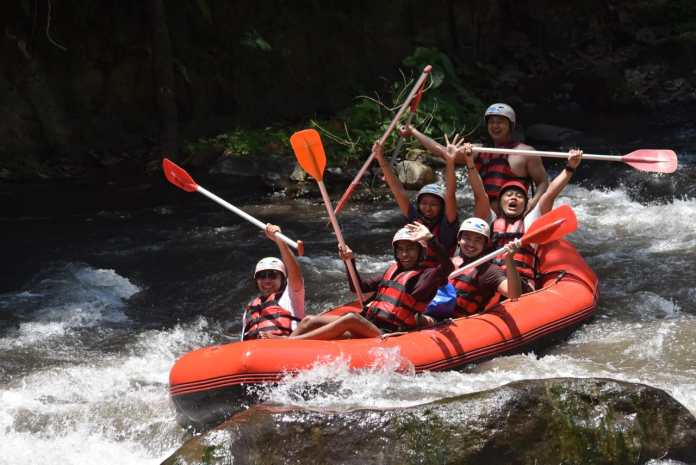 Raffting at Ayung River, Ubud, by Red Paddle Bali Adventure.