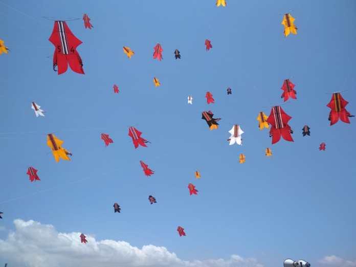 Kites competed at the 41st Bali Kite Festival 2019 at Padanggalak Beach, East Denpasar.