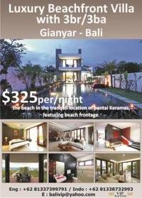 Holiday Beachfront Villas for rent. Only $325 per night for 3 Bedroom Villa.