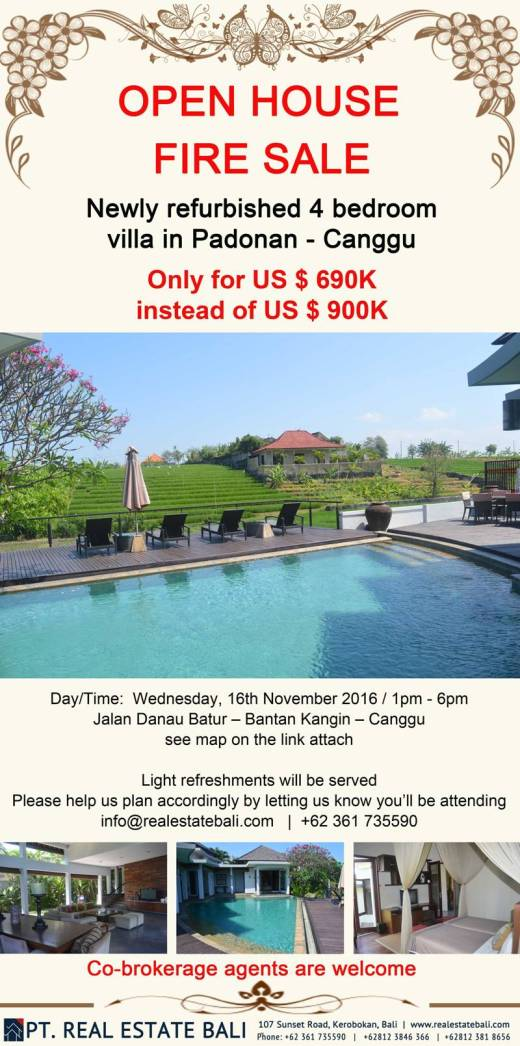 Open House – Fire Sale !!! Bali Canggu Villa !