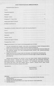 Surat Pernyataan dan Jaminan Sponsor KITAS