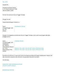Surat permohonan for Indonesia spouse sponsored KITAS