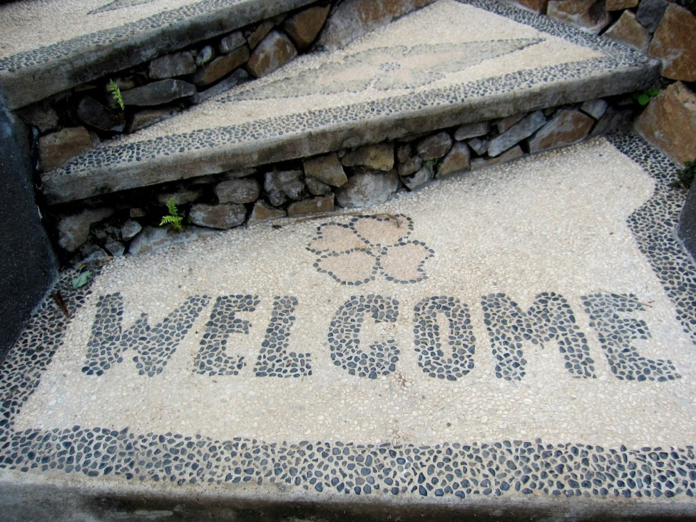 Welcome at Wawa-Wewe Rock in Banuyning (Amed area), Karangasem, Bali, Indonesia