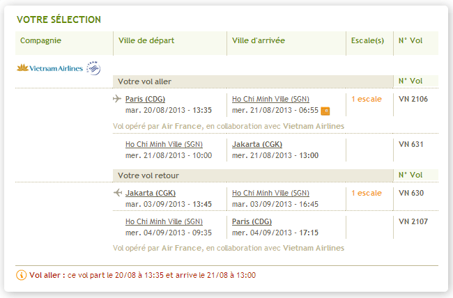 Billet GoVoyages Vietnam Airlines Paris Jakarta