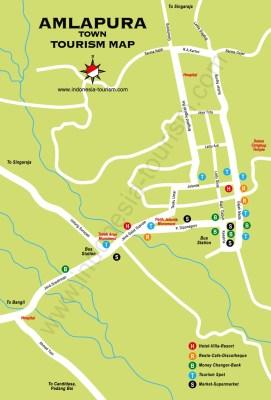 Carte de la ville d'Amlapura à Bali en Indonésie
