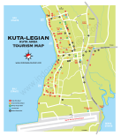 Carte de Kuta et Legian au sud de Bali en Indonésie