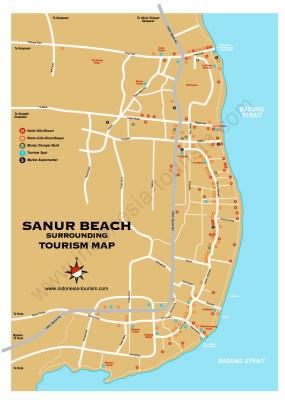 Carte de Sanur au sud Bali en Indonésie