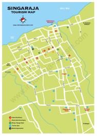 Carte de la ville de Singaraja au nord de Bali en Indonésie