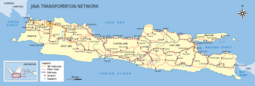 Carte de l'île de Java en Indonésie