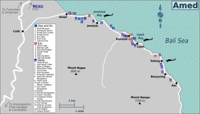 Carte du village d'Amed à l'est de Bali en Indonésie