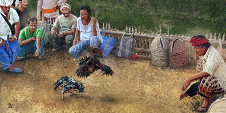 Peinture de combat de coqs à Bali © Tepee