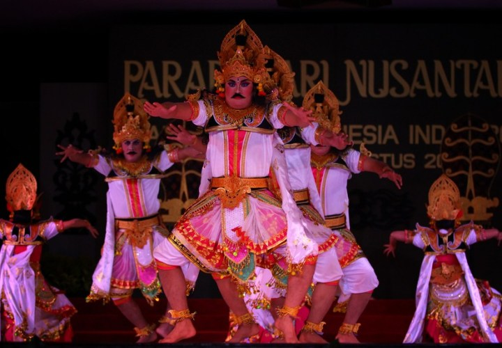 The Durga Mahisasura Mardini dance, a giant colossal