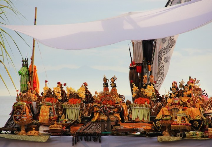 Melasti ceremony before the feast of Nyepi in Bali