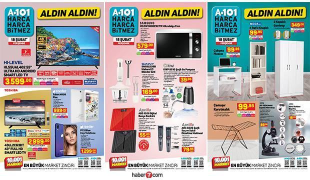 A101 18 Şubat aktüel kataloğu! Mobilya, elektronik, tekstil, züccaciye ve elektrikli ürünlerde