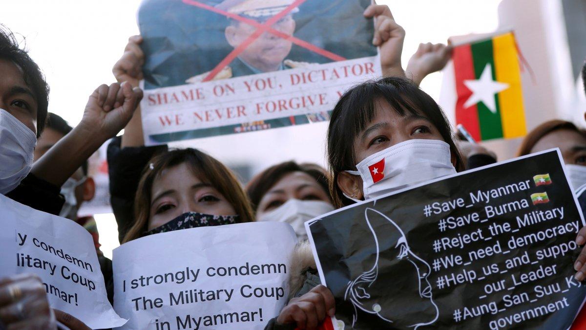 Myanmar'da yapılan askeri darbe Japonya'da protesto edildi