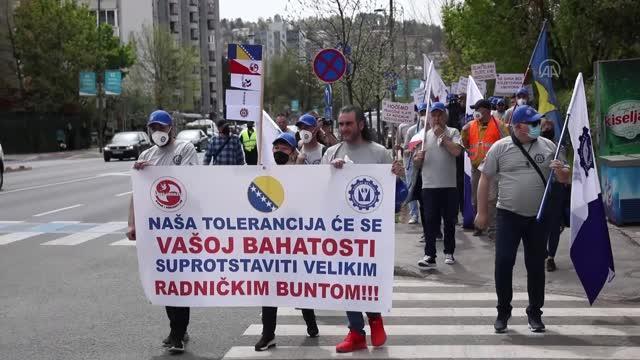 BosnaHersek'te Metal Sanayicileri Sendikası protesto gösterisi düzenledi