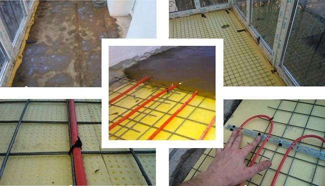 Teknologi til installation af et varmt gulv på altanen