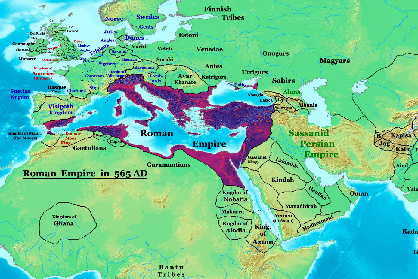 Byzantine Empire At Its Greatest Extent Ca 565