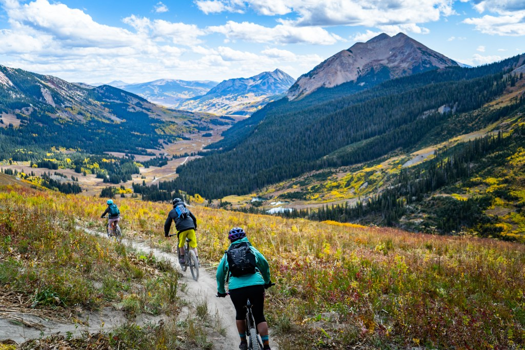 mountain bikers 401 trail descent crested butte colorado