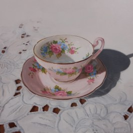 """Tea Time #2 Acrylic on Board 9"""" x 9"""" - Price on Request"""