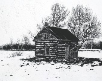 """Little House in the Valley 9"""" x 11"""" Scratchboard SOLD"""