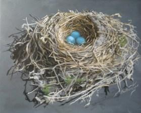 """Robin's Nest 8"""" X 10"""" X 1.5"""" Acrylic on Panel"""