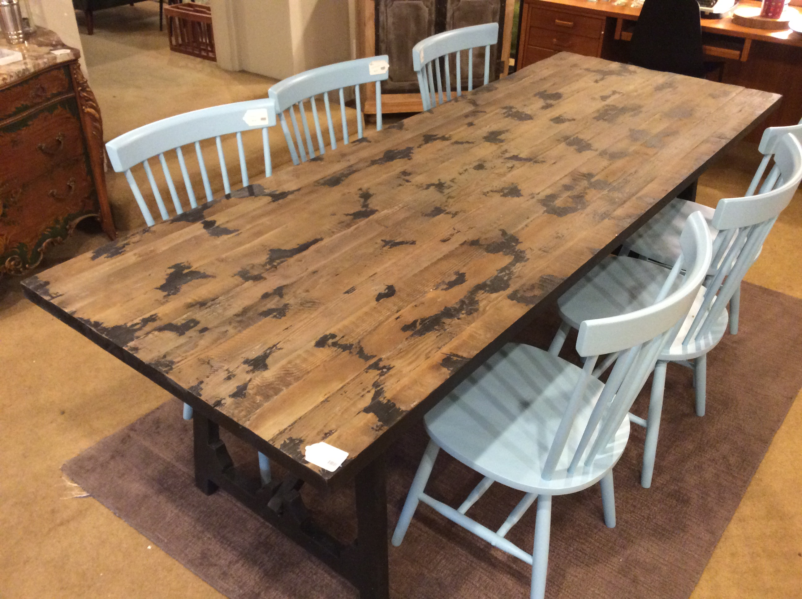 Black Base Rustic Dining Table Sold Ballard Consignment