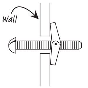 Toggle bolt for hanging wall art
