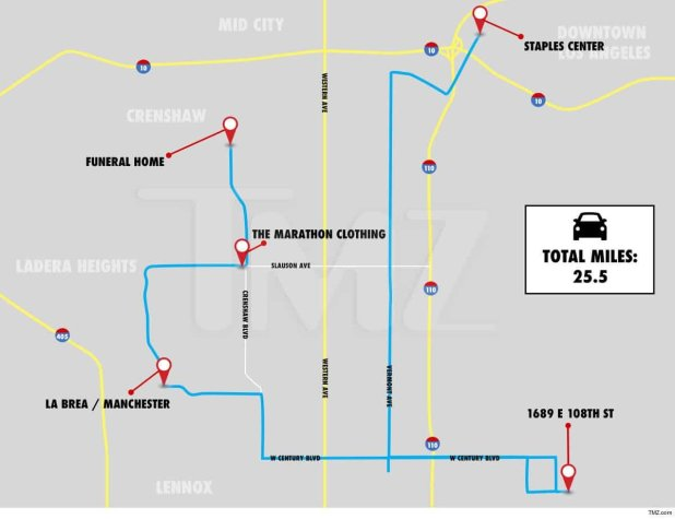 Nipsey Hussle's Procession Route