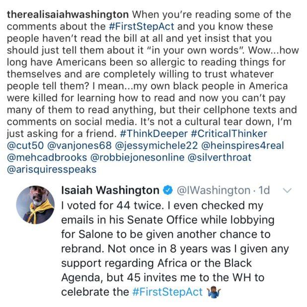 Isaiah Washington vs Barack Obama