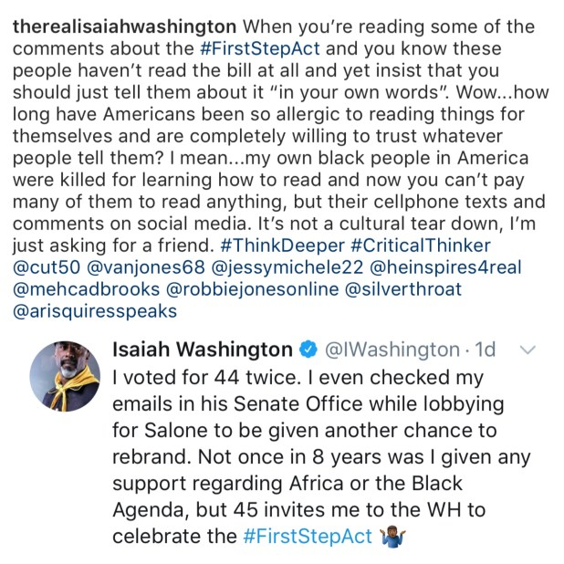 Isaiah Washington vs Barack Obama