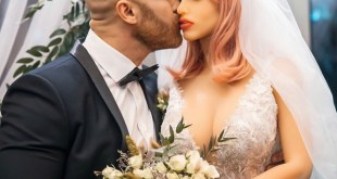 Bodybuilder and sex doll bride