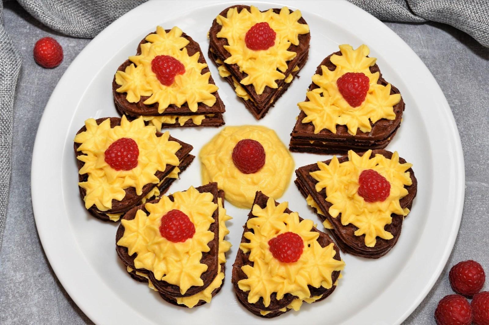Brownie Waffelherzen zum Muttertag Rezept