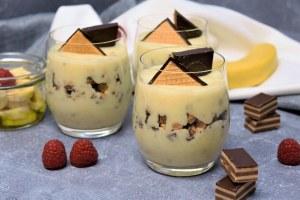 Bananen Creme Dessert im Glas