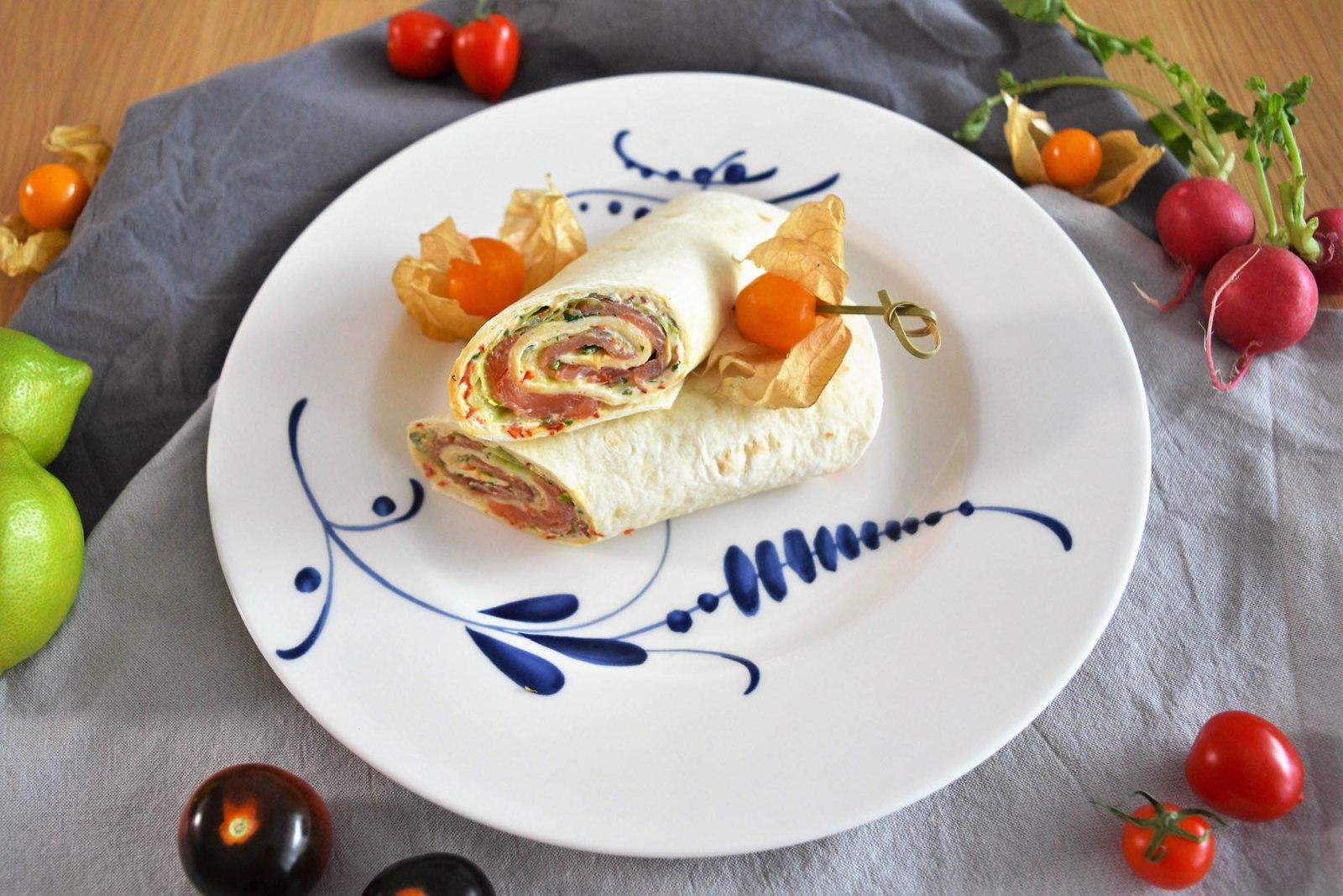 Lachs Frischkäse-Chilifäden Wrap-Rezept-ballesworld