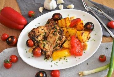 Gegrillte Hähnchenschenkel und Gemüse-Rezept-ballesworld
