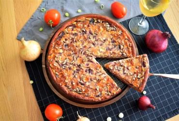 Zwiebelkuchen mit Rote Beete Mehl-Rezept-ballesworld