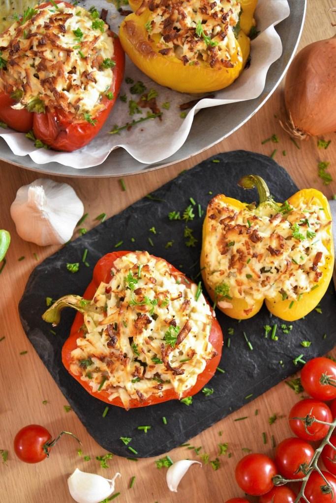 Gefüllte Paprika mit weißen Bohnen-Bohne mit Feta-ballesworld
