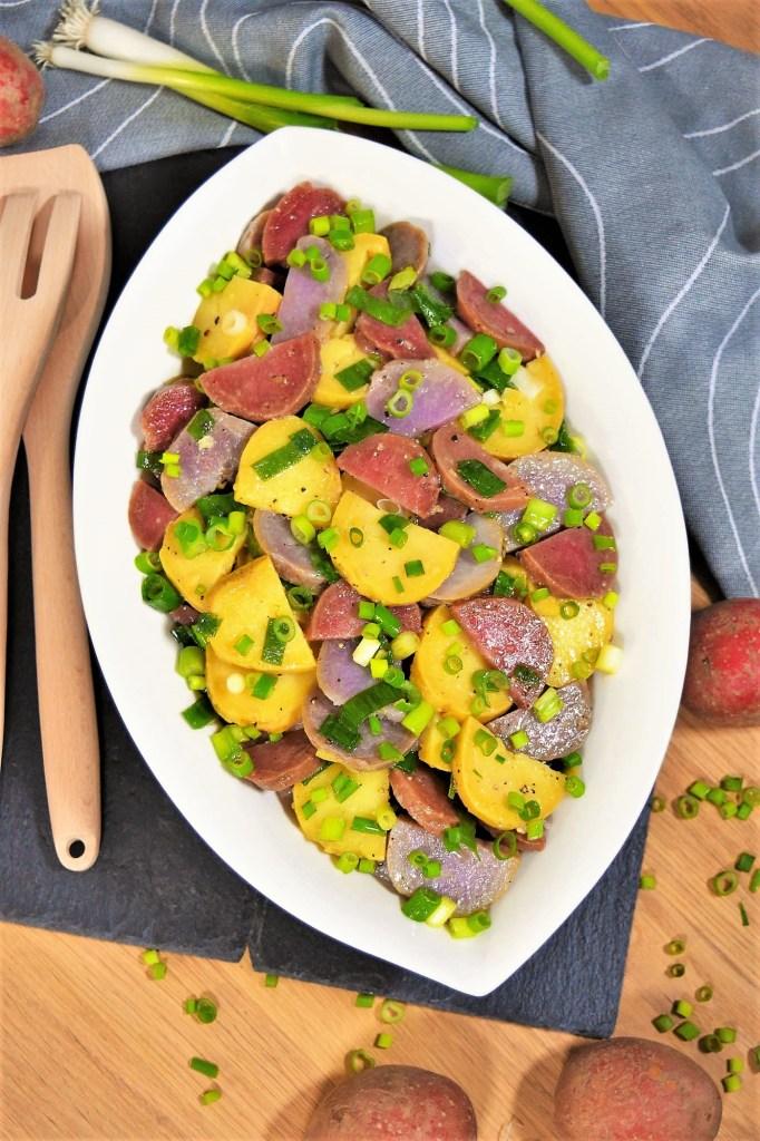 Rot-Lila-Gelb Kartoffelsalat-Vegetarisch-ballesworld