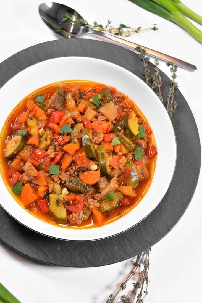 Zucchini Auberginen Pfanne-Hauptgericht-ballesworld