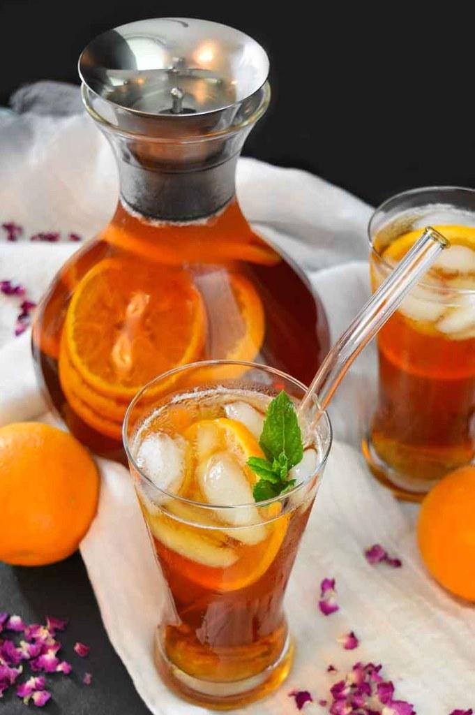 Rosen-Orangen Eistee-Sommer Drinks-ballesworld
