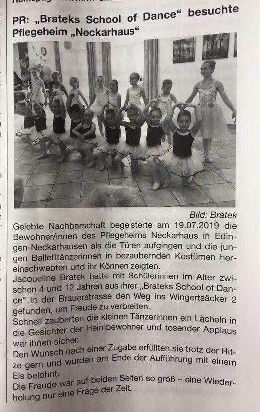 Artikel BRATEKs School of Dance besucht Pflegeheim Neckarhaus
