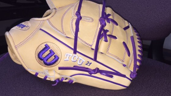 TCU's Wilson Gloves: Blonde and Purple B2