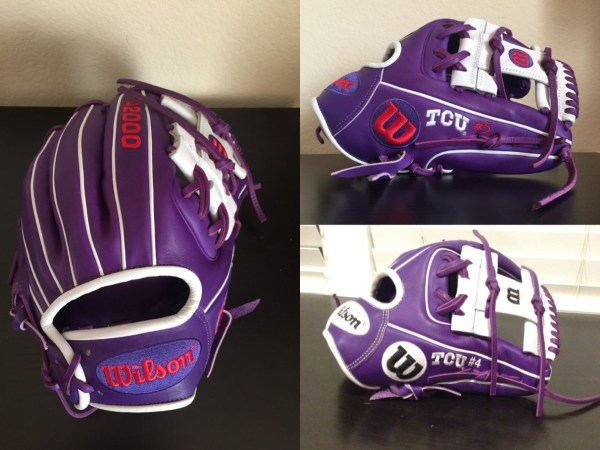 TCU's Wilson Gloves: Purple and White 1786