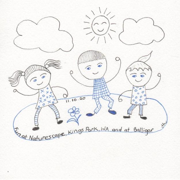 A child is a curly, dimpled lunatic - R W Emerson - Helen Lock - Western Australian artist - Inktober 2020 Day 11