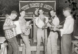 Young Musicians in front of a Future Farmers of America Banner