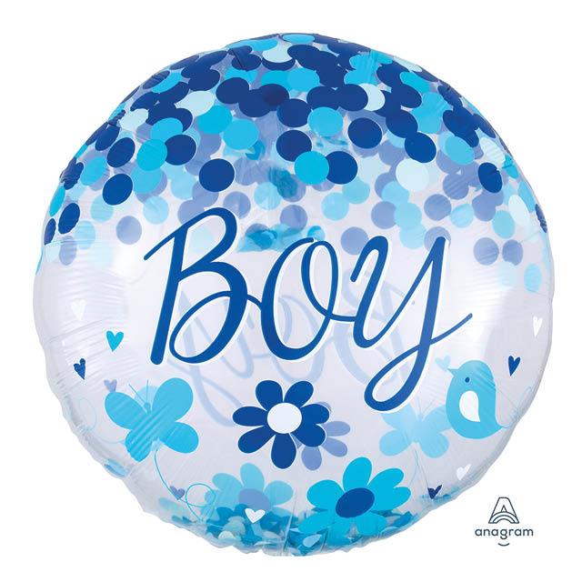 Helium Ballon Confetti Boy 71 CM, geboorte, jongen