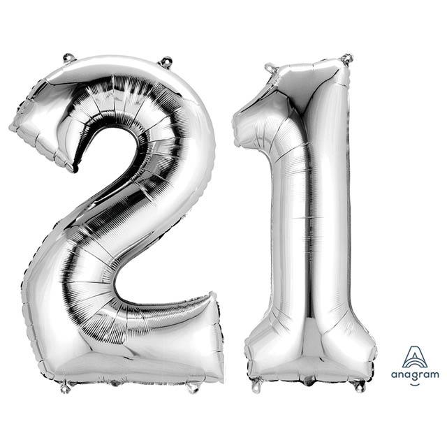 Helium Ballon Cijferset Zilver 90 CM 21